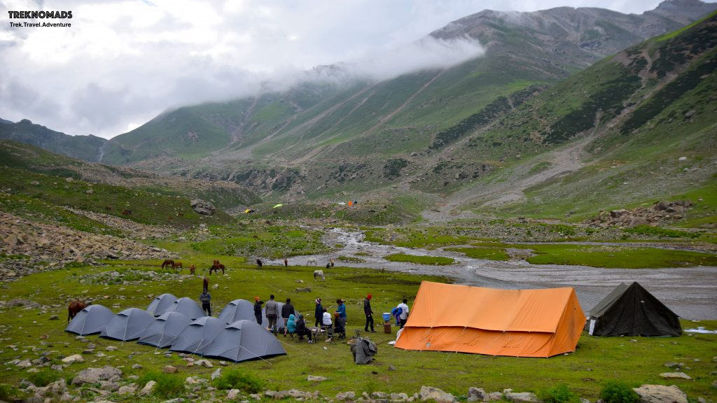 Our Camp 2 - Nichnai camp. This camp was at an altitude of around 3,600 meters above sea level. We had a beautiful and cold glacial stream next to our campsite. It was surreal but tiring day 1. Kashmir Great Lakes Trek - Premium.