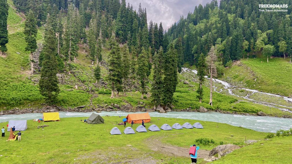 Our first campsite at Sitkari - 2 kms before Sonmarg. All Campsites during our trek had beautiful glacial streams and a surreal environment. Kashmir Great Lakes Trek, Premium