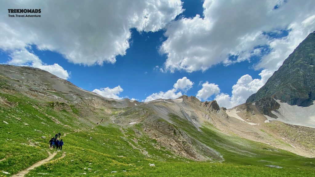 The Gadsar pass is seen towards the left of the photo. The height looks smaller in this pic. - Kashmir Great Lakes Trek, Premium