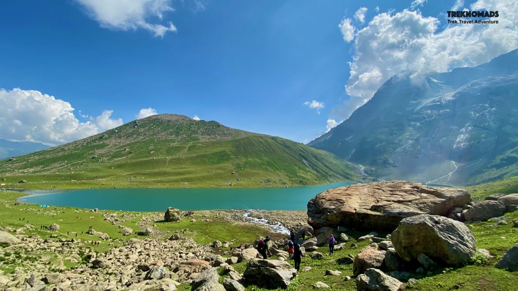 Nandkol Lake. We had gone to Gangbal lake after climbing down from the pass. After sightseeing and photography, we walked towards Nandkol lake. Our campsite was near this lake. - Kashmir Great Lakes Trek, Premium