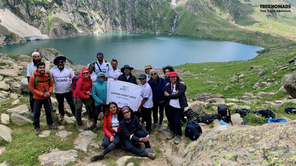 The mighty Gangbal lake in the background. We had our packed lunch at this picturaque location. The lake is huge and the photograph does not potray the magnitude of the surroundings. - Kashmir Great Lakes Trek, Premium
